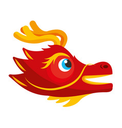 Cute head red dragon animal mythological chinese vector