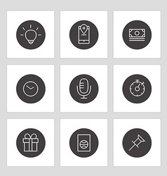 Different line style icons on circles vector image