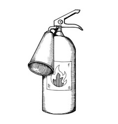 fire extinguisher engraving vector image vector image