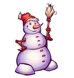 funny snowman with broom vector image vector image