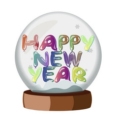 happy new year on snowball vector image vector image