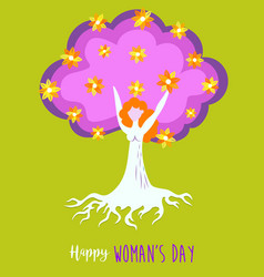 Happy womens day spring tree of life girl concept vector