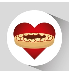 heart cartoon cake apple and sweet chocolate icon vector image vector image