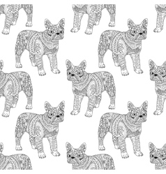 High detailed seamless pattern with bulldog vector