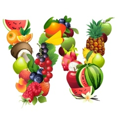 Letter W composed of different fruits with leaves vector image