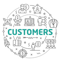 line flat circle customers vector image