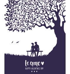 lovers silhouette vector image vector image