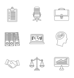 Marketing icons set outline style vector