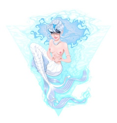 Mermaid marking the heart with her hands vector image vector image