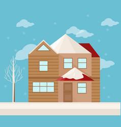 modern architecture facade of a house winter vector image vector image