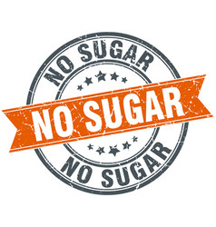 No sugar round grunge ribbon stamp vector