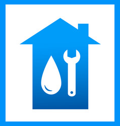 Plumbing icon with water drop and wrench vector