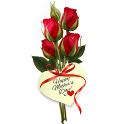 Red roses with a heart-shaped Happy Mothers Day vector image vector image
