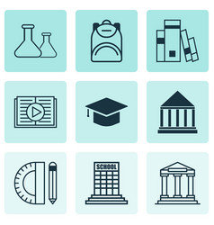 Set of 9 education icons includes education tools vector