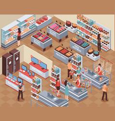 Supermarket isometric vector