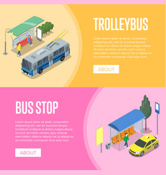 Trolleybus and bus station isometric 3d posters vector