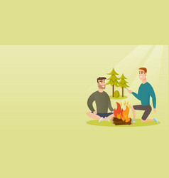 Two friends sitting around bonfire in the camping vector