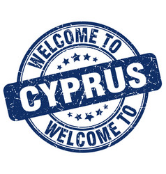 Welcome to cyprus blue round vintage stamp vector