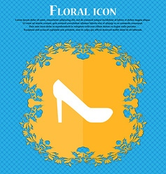 Woman shoes icon sign floral flat design on a blue vector