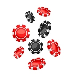 Set of casino red and black chips falling down vector