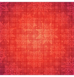 Christmas snowflakes and stars over red checked vector image