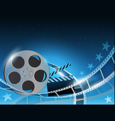A film stripe reel on shiny blue vector