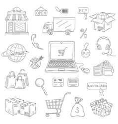 set of hand drawn e-commerce icons set vector image