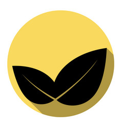 leaf sign flat black icon vector image