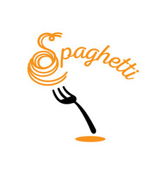 chewy spaghetti with fork vector image