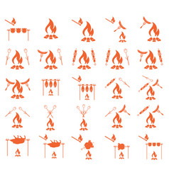 Set of coocing on campfire icons vector