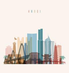 Hanoi skyline detailed silhouette vector