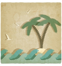 Vintage marine background with palm tree vector
