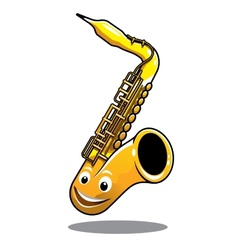 Funny happy brass saxophone vector