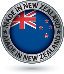 Made in new zealand silver label with flag vector