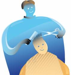 Barber with a boy vector