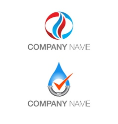 Plumbing heating logos vector