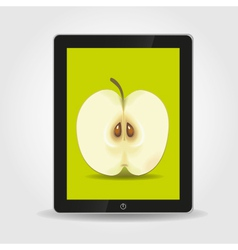 Apple on tablet pc screen vector