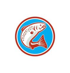Trout Fish Jumping Circle Retro vector image