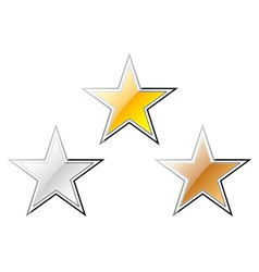 Gold silver and bronze stars vector