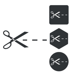Cut icon set monochrome vector