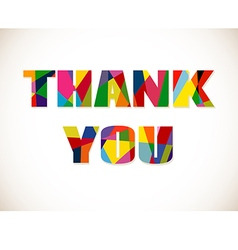 Thank you lettering with colorful letters isolated vector
