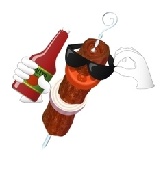 Kebab man loves tomato ketchup vector