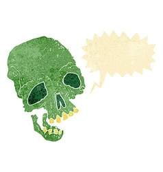 Cartoon ancient spooky skull with speech bubble vector