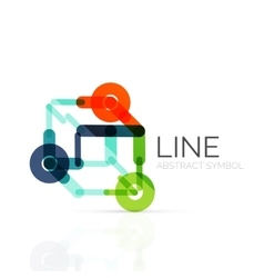 Linear abstract logo connected multicolored vector