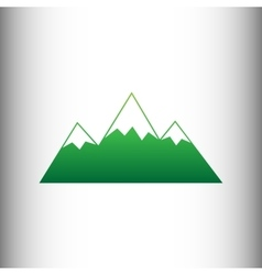 Mountain sign green gradient icon vector