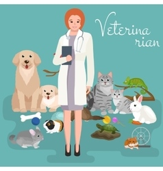 Group of pets and veterinary doctor with animals vector