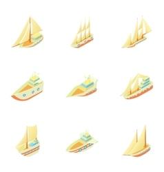 Boats icons set cartoon style vector