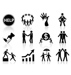business help icons vector image vector image