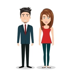 cartoon man and woman standing human resources vector image