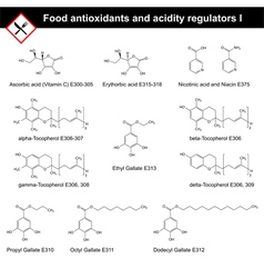 Chemical structures of main food antioxidants vector image